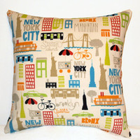 "Pillow Covers 18"" Set of Two - New York City Pattern"