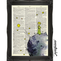 Le Petite Prince by Antoine de Saint-Exupéry Print on an Unframed Upcycled Bookpage