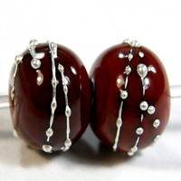 Opaque Red Flint Cool Color Handmade Lampwork Glass Beads 653 Shiny (Choices of Etched, .999 Fine Silver, Shapes, Sizes, Large Hole Beads Extra)