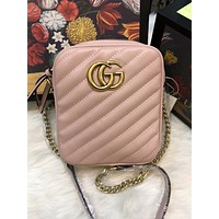 Gucci Newest Stylish Women Shopping Leather Metal Chain Crossbody Satchel Shoulder Bag Pink