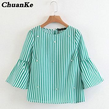 New women elegant pearls beading striped shirt flare sleeve O neck Blouses ladies summer brand casual tops Tees blusas