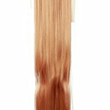 Diy-Wig 28 inch Womens Extension Hair Ponytail String Wrap-on Clip In Long Straight Hair Pieces(Golden Brown)