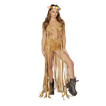 Roma Rave 3589 - 1pc Brown Tie Dye Suide Long Fringe Open Front Skirt