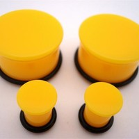 Yellow Single Flare Plugs (6 gauge - 1 inch)