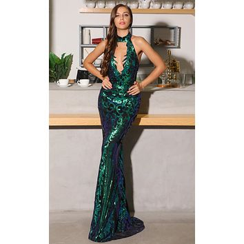 This Time Around Black Green Sequin Geometric Pattern Sleeveless Mock Neck Plunge V Neck Halter Maxi Dress