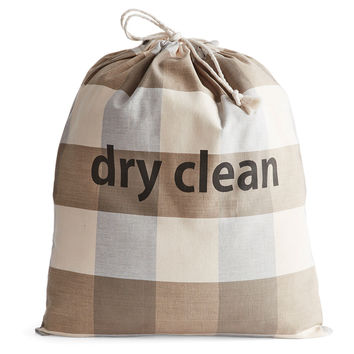 """Dry Clean"" Drawstring Bag, Gray Check, Laundry Bags"