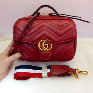 GUCCI Trending Women Metal G Double Zipper Leather Satchel Shoulder Fashion Bag Crossbody Red G-MYJSY-BB