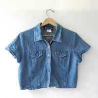 vintage jean shirt. short sleeve denim shirt. cropped top.