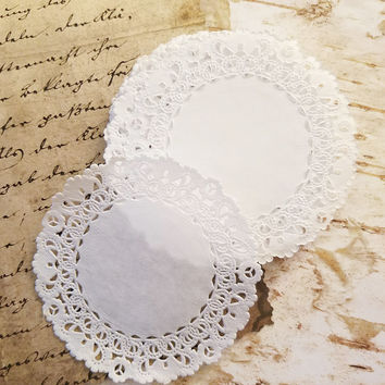 "Paper Doilies 4"" Normandy French Lace, Set of 25, Round Doily, Wedding Decor, Table Setting, Baby Shower, Party Events, Gift Wrap Accent"