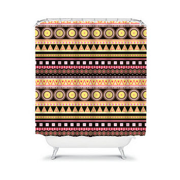Shower Curtain Aztec Tribal Chevron Colorful Brown Yellow Red Pink Geometric Pattern Bathroom Bath Polyester Made in the USA