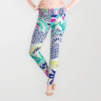 Bohemian navy floral mandala paisley watercolor Leggings by Girly Trend | Society6