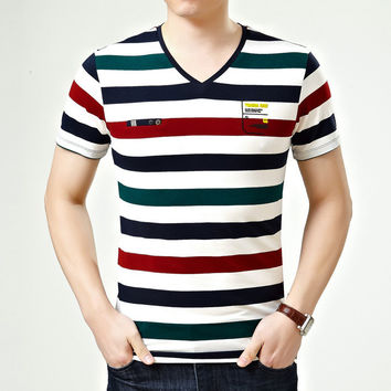Summer Men's Fashion Short Sleeve Stylish Stripes Luxury V-neck Cotton Men T-shirts