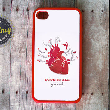 Red Anatomical Heart Love Is All You Need Valentine's Day Case iPhone 5 / 5s case
