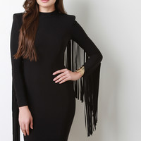 Fringe Sleeve Structure Bodycon Dress | UrbanOG