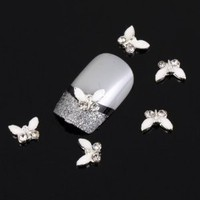 Yesurprise Special Silver White Butterfly 10 pieces Silver 3D Alloy Nail Art Slices Glitters DIY Decorations by TOOGOO(R)