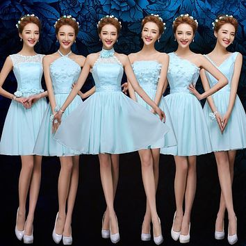 Sky Blue Bridesmaid Dresses Chiffon One Shoulder Summer Wedding Party Gown Cheap Bridesmaid Party Dresses Under 50 Prom Dresses