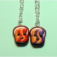 Handmade Goober Peanut Butter & Jelly Best Friend Necklaces or Key Chains