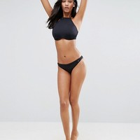 ASOS FULLER BUST Mix and Match Underwired High Neck Halter Crop Bikini Top with Eyelets at asos.com