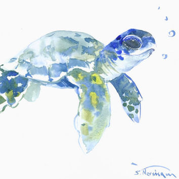 Wimsical Blue Green Sea Turtle, 10 x 8 original watercolor painting