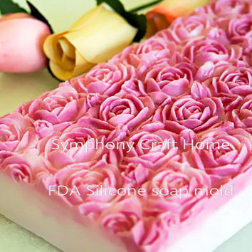 Rose silicone mold, Silicone soap mold, Fondant molds, C P soap molds , Melt and pour mold, slab rose silicone mold, handmade supply