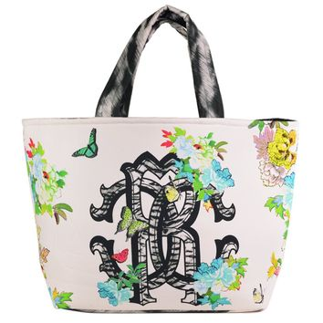 Roberto Cavalli White Canvas Floral Print Extra Large Tote Bag