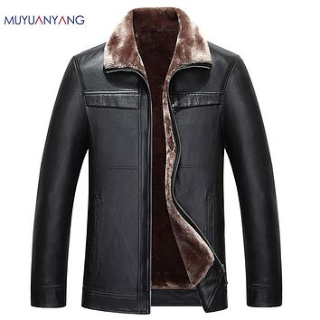 Casual Fur Clothing Men Jackets &Coat  Men's Faux Leather Jackets Thicken Leather Jacket and Coat Overcoat