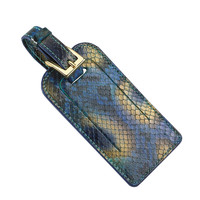 Luggage Tag  Peacock Embossed Python Leather