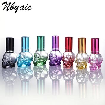 B001-8 Free Shipping, Glass Skull Bottle, 8ml, Portable Travel Perfume Bottle, Perfume Sprayer, Can Add Perfume Empty Bottle