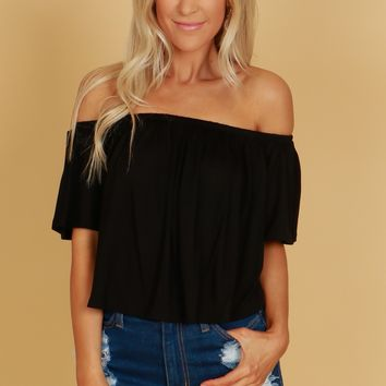 Solid Ruffle Crop Top Black