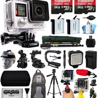 GoPro HERO+ LCD CHDHB-101 with 32GB Ultra Memory + LED Night Light + Handgrip + Floaty Bobber + Action Handle + Suction Cup + Large Padded Case + 60? Tripod + Bike Handlebar Mount + More - Walmart.com