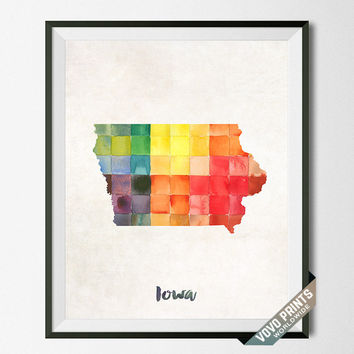 Iowa Map, Print, Painting, Watercolor, Dorm, Home Town, Gift, Poster, Art, USA, States, America, Wall Decor, Hanging, Room [NO 15]