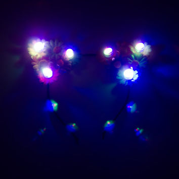 Rainbow LED Cat Ear Headband, Floral Cat Ears, Burning Man Clothing, Beyond Wonderland, Nocturnal Wonderland, Escape Music Festival, Ezoo