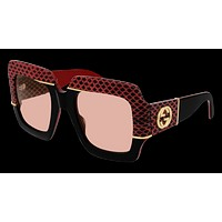 Gucci - GG0484S 54mm Red Black Sunglasses / Pink Lenses