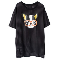 French Bulldog Print Striped High Low Black Blouse