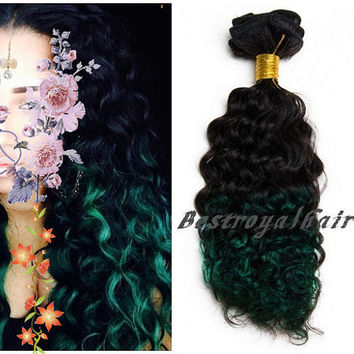 Off Black to Dark Green Two Colors Ombre hair extension, Indian remy clip in curly/straight Ombre hair extensions RHS254