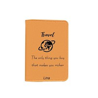 Travel Inspiration [Name Customized] Travel Leather Passport Holder - Passport Protector - Passport Cover - Passport Wallet_SUPERTRAMPshop