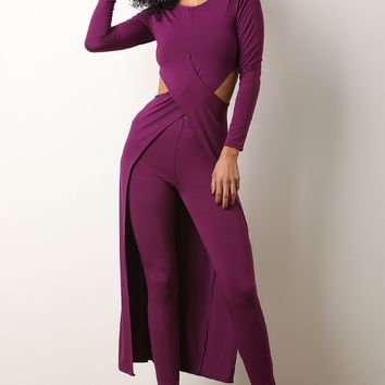 Crisscross Side Cutout Maxi Top with Legging Set