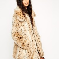 ASOS Faux Fur Leopard Print Coat at asos.com