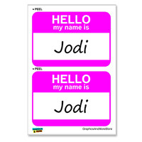 Jodi Hello My Name Is - Sheet of 2 Stickers