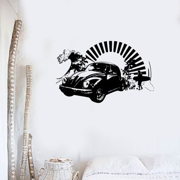 Vinyl Decal Wall Sticker Volkswagen Bug Antique Car Surfing Beach Decor for Garage or Man Cave Unique Gift (m002)