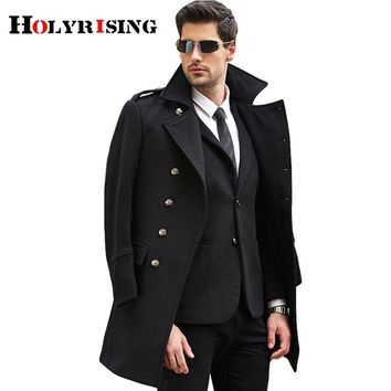 S-3XL large size men wool coat long coat woolen coat erkek mont cappotto abrigo hombre peacoat winter coat Holyrising