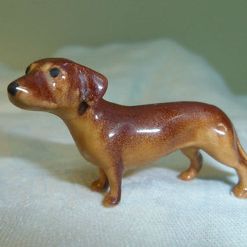 "Hagen Renaker Miniature Dachshund Figurine Standing Brown Loose 2"" long"