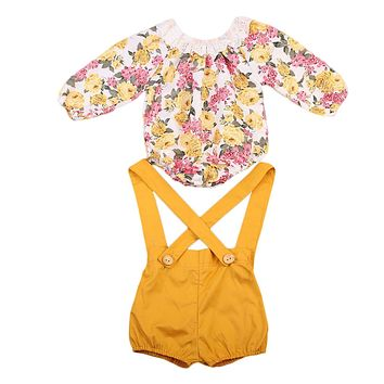 Floral Long-Sleeve Romper with Overalls