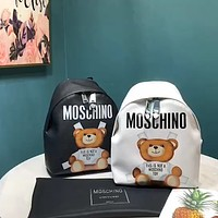 Moschino simple bear print men and women backpack