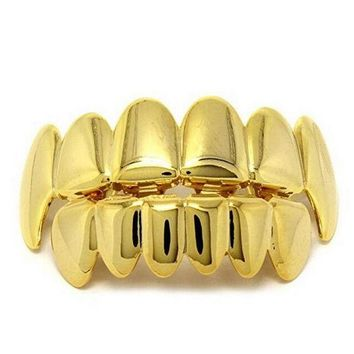 ESBONHS Gold Silver Color HIP HOP Teeth Grillz 6 Top Teeth & 6 Bottom Tooth Plain Groll Set With Silicone Teeth Slugs Thin Gift for Men