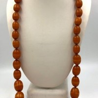 "Antique Amber Bakelite Faturan Kehribar Olive Beads Necklace 28"" long"