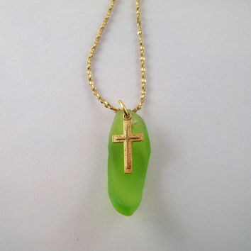 Vintage Gold Cross Pendent with Gold Chain; Green Sea Glass Enhancer, 18 Inch Vintage Chain; St Patrick's Day Gift, Christian Jewelry