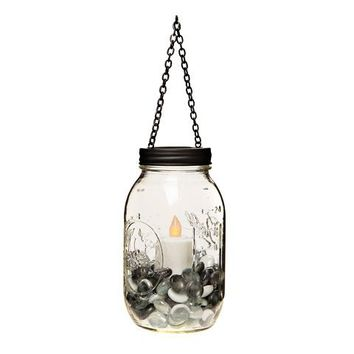 Hanging Mason Jar Lid with Chain: Metal - Black - 2.75 inches