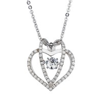 .25 CT.(4mm) Sterling Silver Dancing Diamond - Diamond Veneer 3-Dimensional Pendant in Perpetual Motion. 635P913