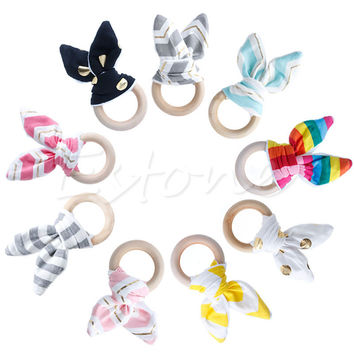 Retail Baby Teether Teething Ring Wood Ring Maple Teething Ring Round Natural Wood Beads Toys For Baby Smooth A19267